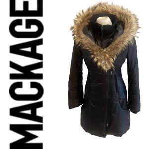 MACKAGE down filled parka with fur trimmed hood